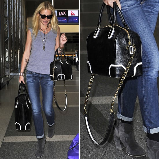Gwyneth Paltrow Carrying Black-and-White Bag