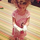 Jessica Alba's oldest daughter, Honor Warren, looked ready for a princess ball in her white gloves and nightgown. Source: Instagram user jessicaalba