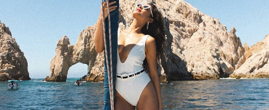 Shay Mitchell White Solid and Striped Swimsuit