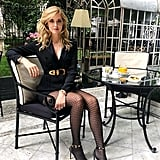 Ooze Glamour With a Blazer Dress, Fishnet Tights, and Heeled Sandals