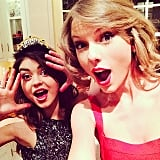Taylor Swift took a selfie with pal Sarah Hyland while celebrating the New Year at her LA home. Source: Instagram user taylorswift