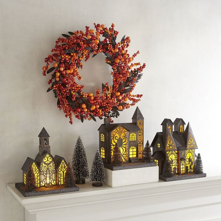Pier Imports Led Light Orange Amp Black Halloween Village Decorations From