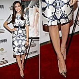 At the launch of her Boston Common magazine cover, Allison Williams looked stunning in a Prabal Gurung printed dress and metallic cap-toe Schutz pumps.