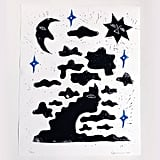 Clouds and Space Linocut Print
