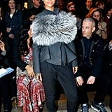 The sporty feel was decidedly gone at Lanvin, where she picked tailored separates and a furry stole worn around the chest.