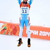 Matthias Mayer of Austria leapt in the air after winning the gold for the alpine skiing men's downhill event.