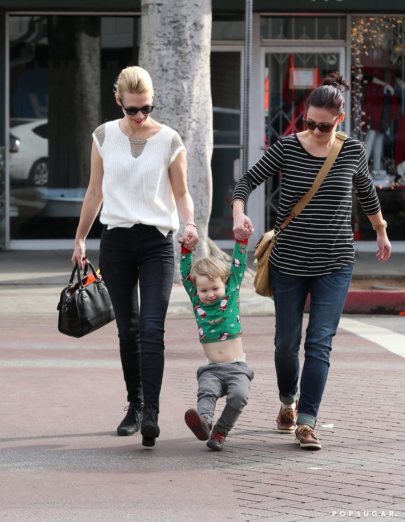 January Jones gave her son, Xander, a swing as he rocked an adorable Christmas sweater in LA.