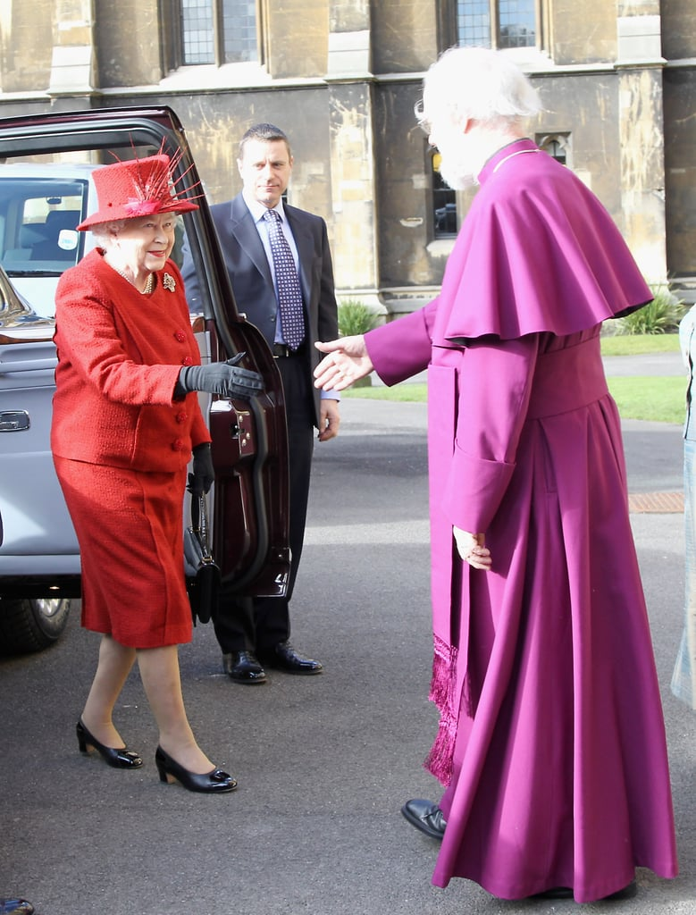 Looking sharp in red, the queen greeted the Archbishop of Canterbury before a multifaith reception for the Diamond Jubilee on Feb. 15.