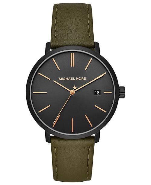 Michael Kors Men's Blake Olive Leather Strap Watch