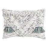 Textured Woven Gray Lumbar Pillow