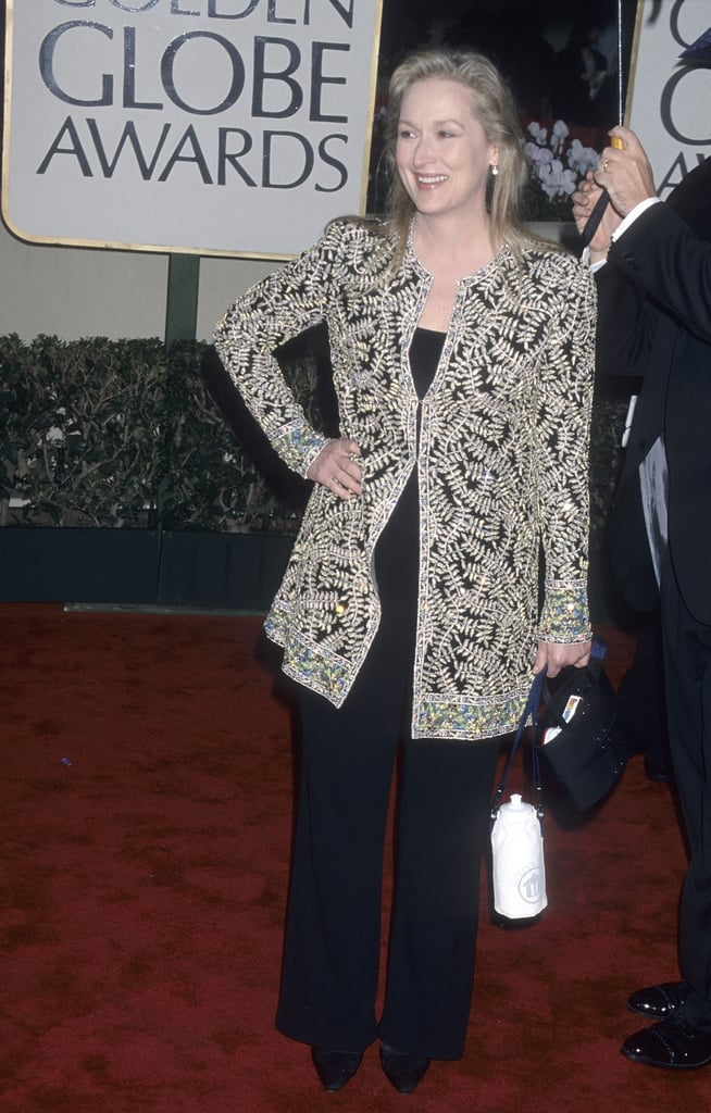 Meryl Covered Up Her Black Jumpsuit With A Beaded Jacket At The 2000