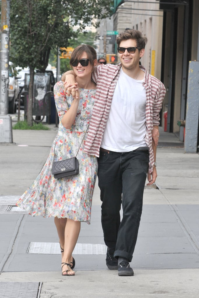Keira Knightley and her fiancé, James Righton, stayed close during an afternoon out in NYC yesterday. The pair, who announced their engagement in late May, held hands and shared some laughs — as well as a couple of quick kisses — during their Sunday stroll in the city. Keira has been stationed on the East Coast lately while filming Can a Song Save Your Life?, her new romantic comedy. The actress has been spotted holding hands with costar Adam Levine and kissing love interest Mark Ruffalo for separate scenes in the movie, but last week, her real-life love James paid her a visit on the set. He's enjoying a break from traveling with his band, Klaxons, after touring Asia and Europe in 2011.