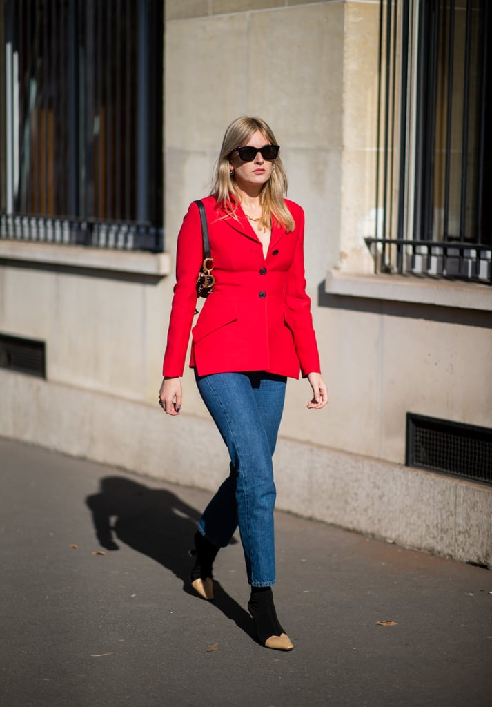Keep it classic with a straight-leg jeans look, but add a brightly-toned tailored blazer on top for a pop.