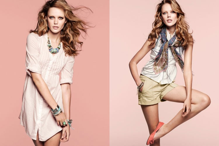 Feel like prettying up your afternoon? Then take a look through H&M's latest look book starring Frida Gustavsson. We saw Frida work some decidedly masculine-inspired looks for the Swedish chain store at the beginning of the year — but the styling for the latest look book has taken a turn towards the super femme. Tiered dresses in shades of pink are accessorized with turquoise bohemian bling layered to the max. Pretty, hippy and full of flirt: Frida's got the girly look down pat.