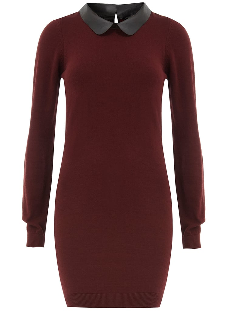 The Dorothy Perkins Wine PU Collar Dress ($57) is a perfect representative of the season's trends, with its burgundy hue and leather collar.