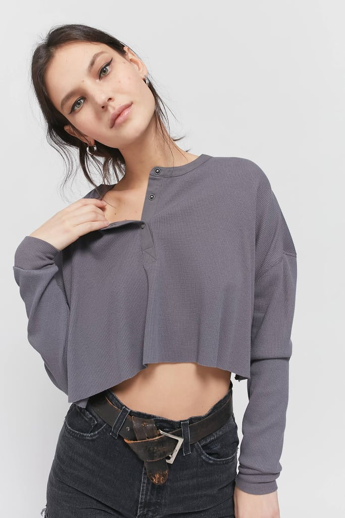 Out From Under Emmy Waffle Henley Top