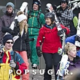Prince Harry walked with Cressida Bonas and Sarah, Duchess of York, during a trip to the slopes.