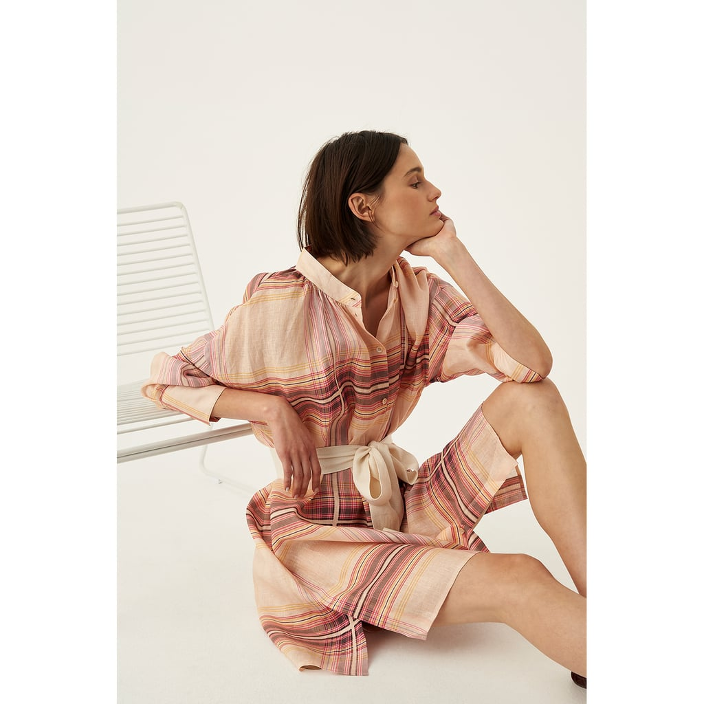 Oroton Linen Check Stripe Dress