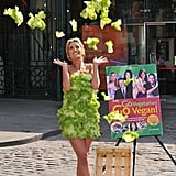Swapping actual clothes for leafy greens, Chantelle Houghton launches PETA's New Vegetarian/Vegan Starter Kit earlier this year.
