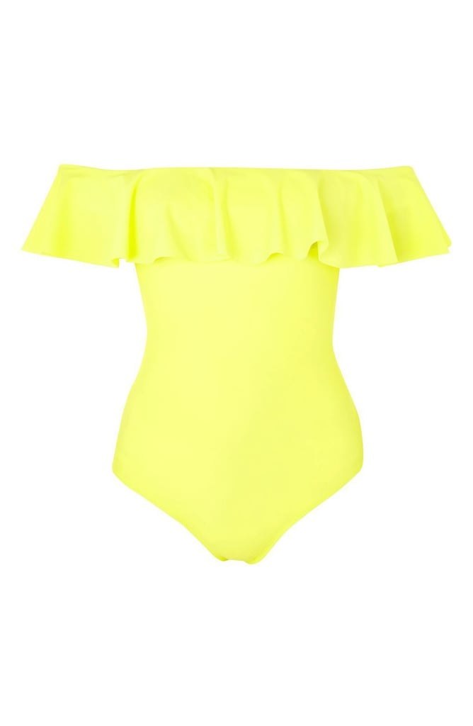 Topshop Women's Ruffle Off The Shoulder One-Piece Swimsuit