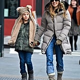 Sarah Jessica Parker had a smile on her face for a stroll with James Wilkie Broderick in NYC.