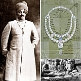 "The real story: Jacques Cartier took his first trip to India in 1911 and designed a ceremonial necklace for the Maharajah of Nawanagar with a 136.26-carat ""Queen of Holland"" diamond, named for the queen of the Netherlands. He mixed in colored diamonds including a 12-carat olive-green diamond and a blue diamond. At left, you can see the maharajah wearing the necklace, as well as Cartier's drawing, and a shot of Jacques Cartier sitting with Indian gem dealers. This alone could make for a great movie — we just need to add in a love triangle of some sort, and maybe some gem robbers."
