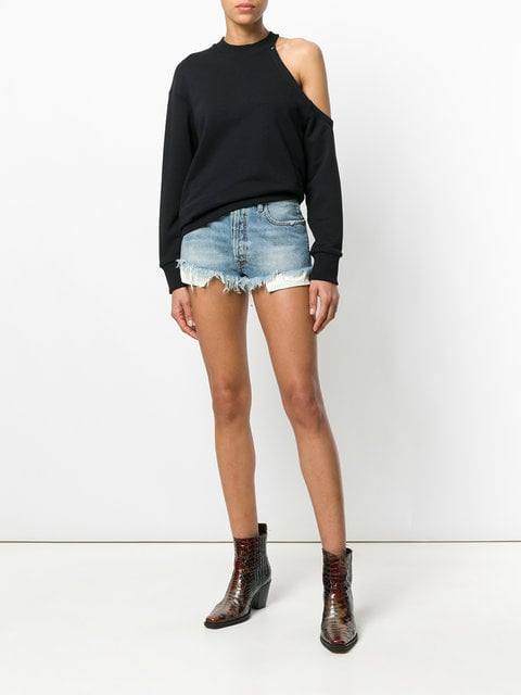 Unravel Project Frayed Denim Shorts