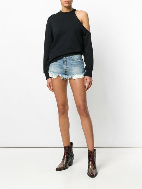 Unravel Project Frayed Denim Shorts
