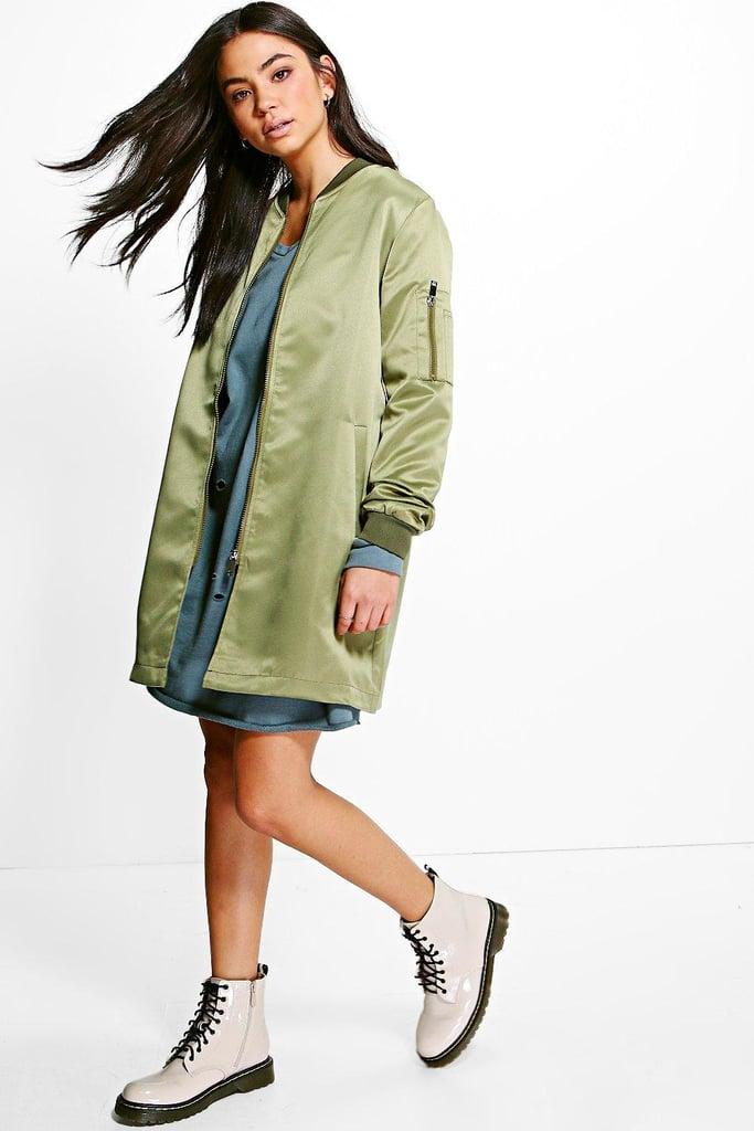 Boohoo Emilia Bomber Jacket Longline ($20)