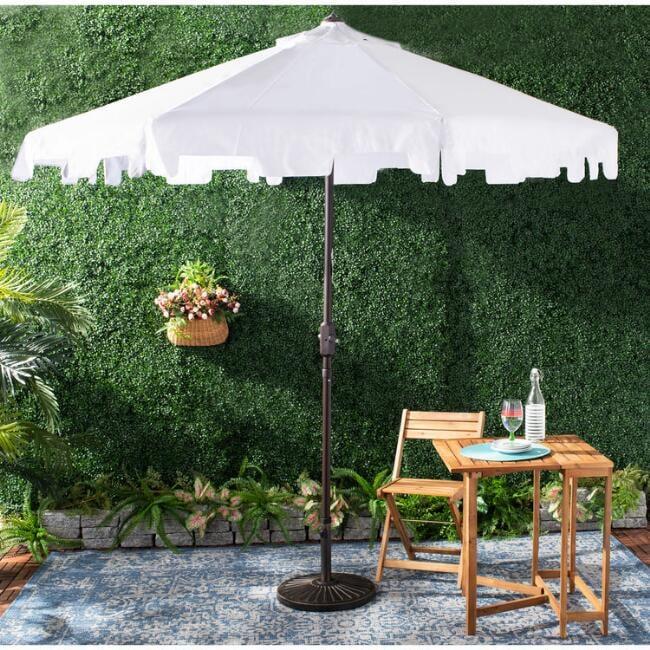 White Square Scallop Tilting Outdoor Umbrella