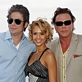 Jessica Alba got in the middle of Benicio Del Toro and Mickey Rourke during a lunch at the festival in 2005.