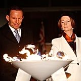 Tony Abbott and Julia Gillard jointly lit a ceremonial beacon to mark the Queen's Diamond Jubilee at Parliament House on June 4, 2012 in Canberra.