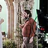 Cate Blanchett and Peter Jackson behind the scenes of The Hobbit: An Unexpected Journey.