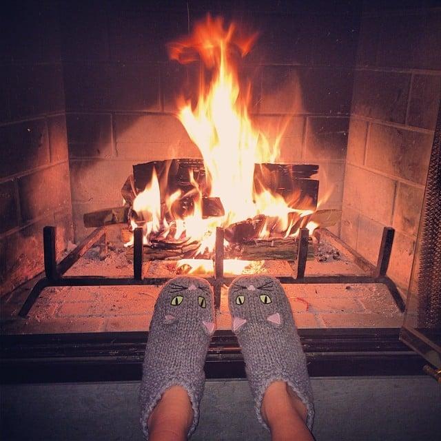 Nicky Hilton Stayed Warm Near The Fireplace Celebrity