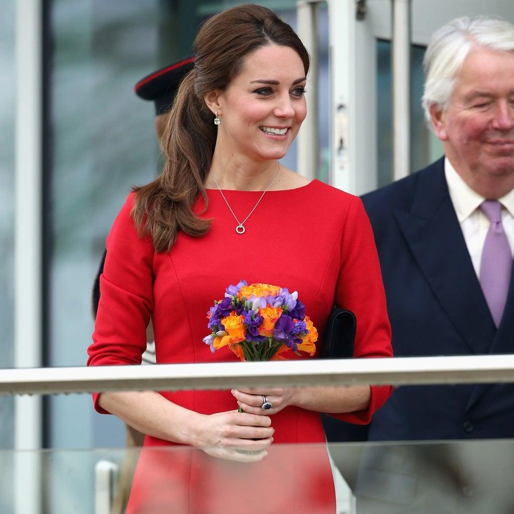 Kate Middleton Pregnant Style Red Dress 2014