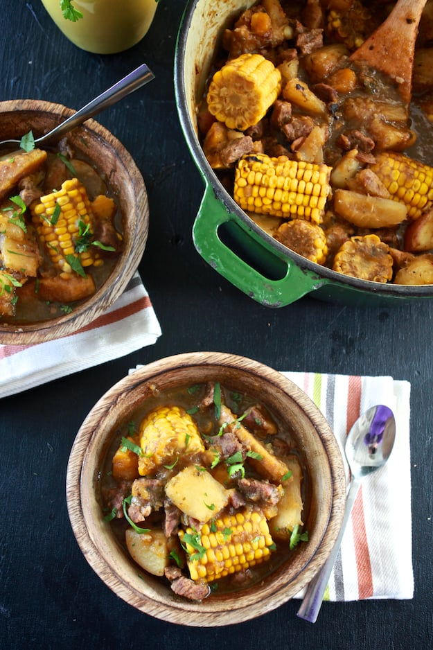 Sancocho, the typical Dominican meat stew, is often prepared with seven different meats. Just looking at this picture makes us feel all cozy.