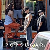 And finally we get a glimpse at more of the cast! From left, that's Kevin Nash, Adam Rodriguez, Manganiello, and Gabriel Iglesias.