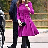 Kate Middleton Wearing a Magenta Oscar de la Renta Skirt Suit in Norfolk