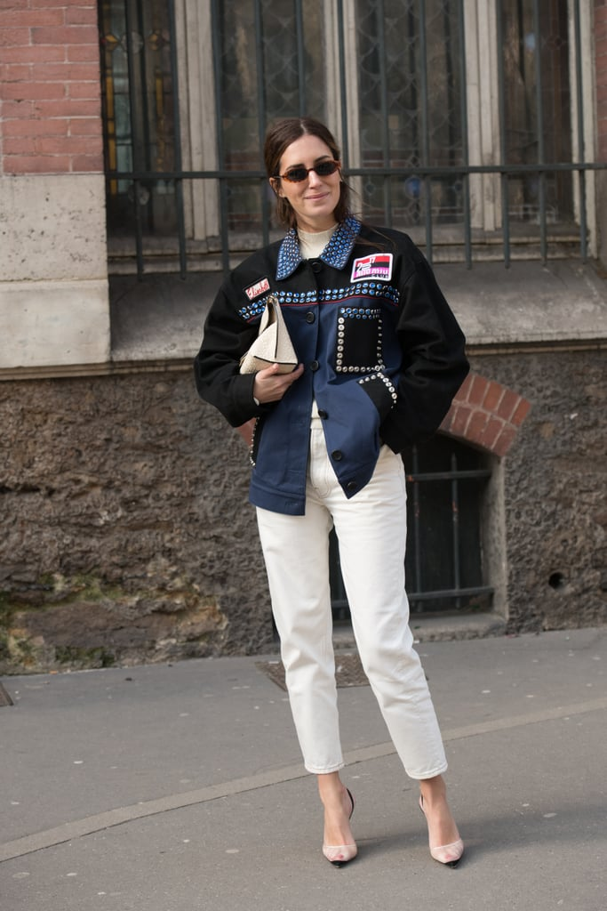 An Embellished Denim Jacket, White Jeans, and Feminine Heels