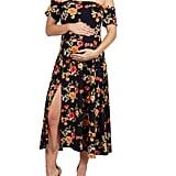 Eleanor Black Floral Side Slit Maternity Dress - Walmart.com