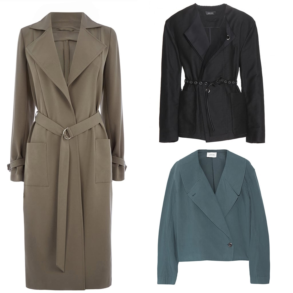Longline coat, $125, Oasis; jacket, $865, Isabel Marant at My Theresa; jacket, $456, Lamaire at Net-a-Porter