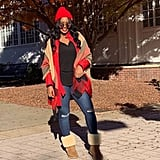 For a Pop of Color, Style Your Boots With a Red Jacket and Beanie