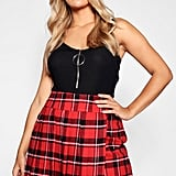 Boohoo Checked Pleated Mini Skirt