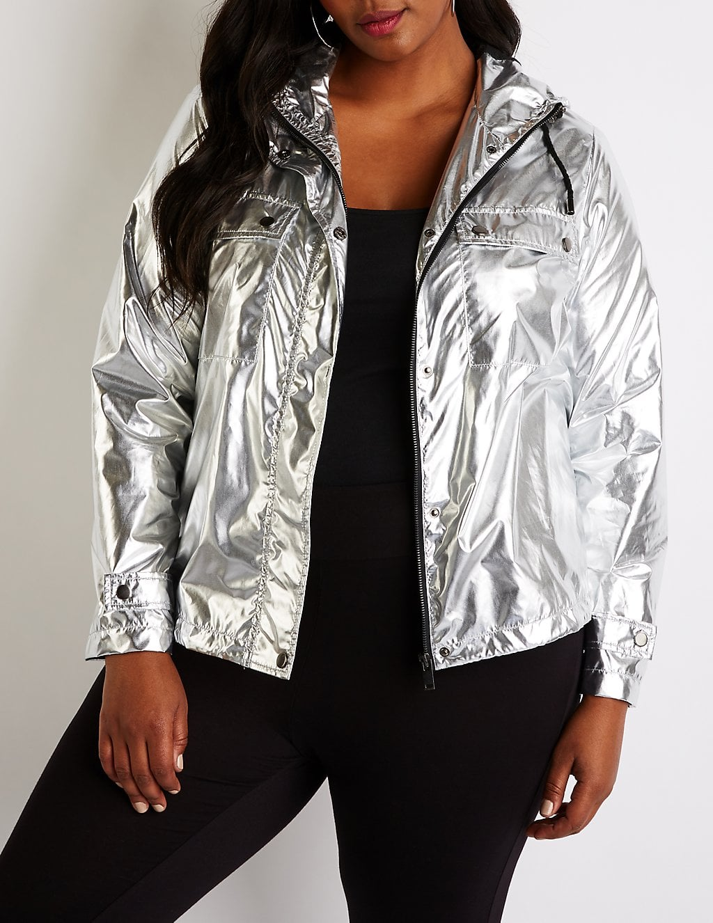 8a0726f7deb Charlotte Russe Metallic Hooded Parka Jacket   Sure, Kourtney ...
