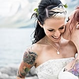 Lesley and Philomena decided to tie the knot at Two Jack Lake in Alberta, Canada, where 65 of their friends and family had gathered. See the wedding here!