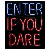 Halloween Enter If You Dare Glow Light Sign