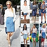 See how these stylish celebrities rock an old-school staple— the denim skirt.