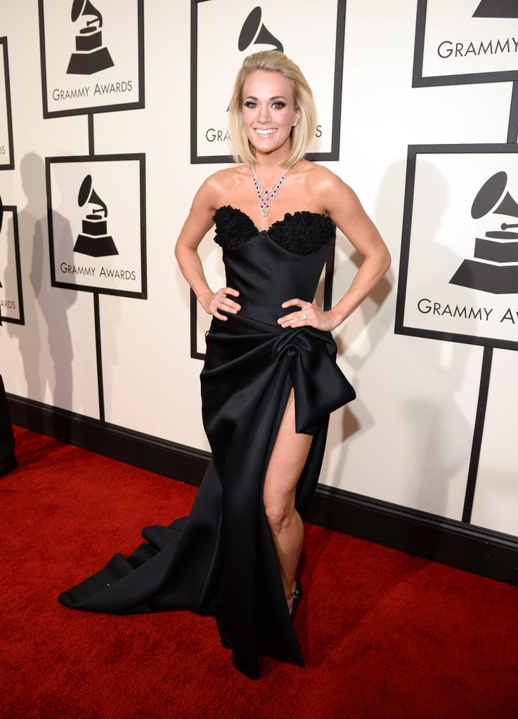 Carrie Underwood in a strapless Nicolas Jebran dress and Giuseppe Zanotti heels
