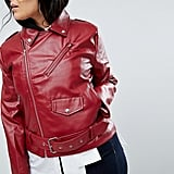 Boohoo Plus Leather Look Belted Jacket