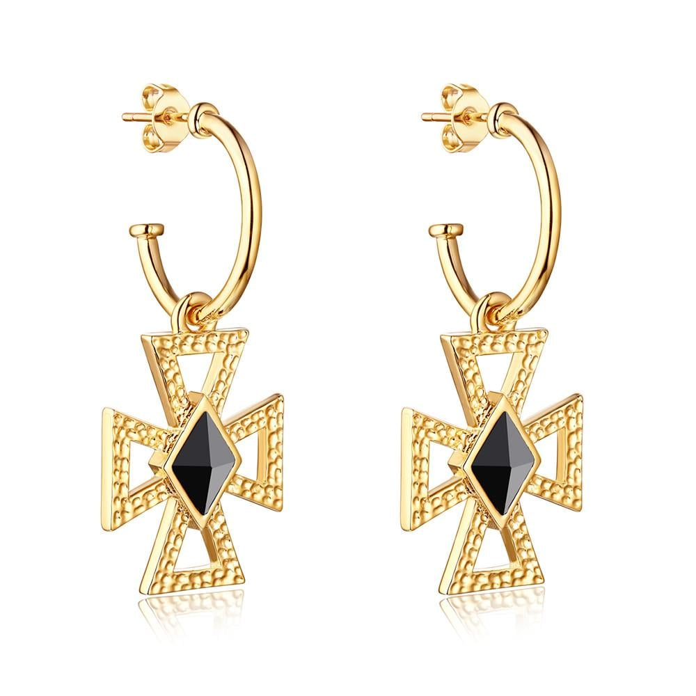The Christie Hammered Cross Earrings, $170